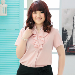 Bertha big blouse shirt chiffon shirt big yard accept waist round collar sleeve business attire at five sweet style dress(China (Mainland))