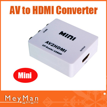 Newest Mini AV/CVBS Composite RCA to HDMI 720p/1080p Upscaling Video Converter Adapter For PC HDTV White Color Free Shipping