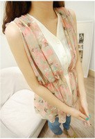 2013 faux two piece sleeveless chiffon shirt chiffon shirt female