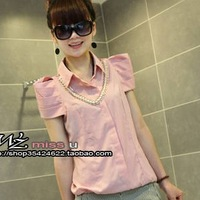2013 women's spring chain stand collar shirt short-sleeve shirt t-shirt female short-sleeve necklace