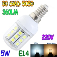 E14 E27 G9 5W 30 5050 SMD LED Light Bulb White / Warm White 220V Corn Light spotlight LED Lamp bulbs With Cover Free Shipping