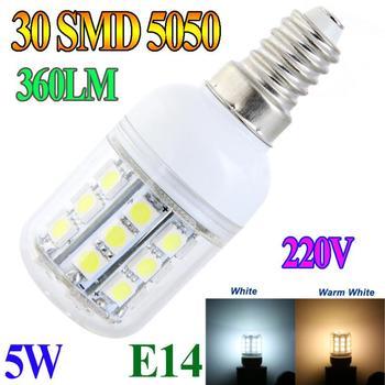 E14 5W 30 SMD5050 SMD 5050 LED Light Bulb Corn Light White / Warm White lighting 220V LED Lamp bulbs Free Shipping DropShipping