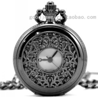 The tungsten steel Black Classical carved hollow conveyor chain fashion Retro pocket watch