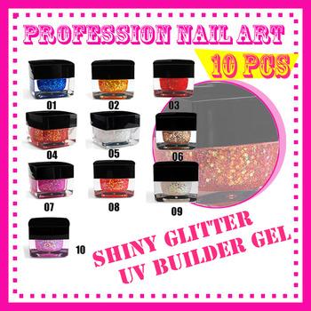 free shipping New 10 pcs 10 Color Nail Tools Acrylic Color plastic charm nail art shiny glitter UV gel builder S082