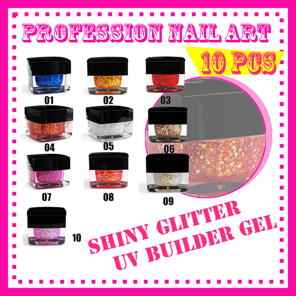 free shipping New 10 pcs 10 Color Nail Tools Acrylic Color plastic charm nail art shiny glitter UV gel builder S082(China (Mainland))