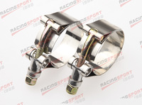 Pack of 2pcs-2'' T BOLT CLAMPS Turbo Pipe Hose Coupler Stainless Steel  54-62mm