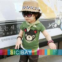 Summer Fashion Little Boys Tshirts Cartoon Tops,Kids Wear Baby Child Cute Bear Design Cheap Clothes Free Shipping  K1589