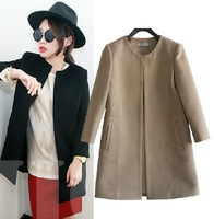 Brief woolen outerwear classic medium-long wool Blends  trench Solid Color coat  Women Coats