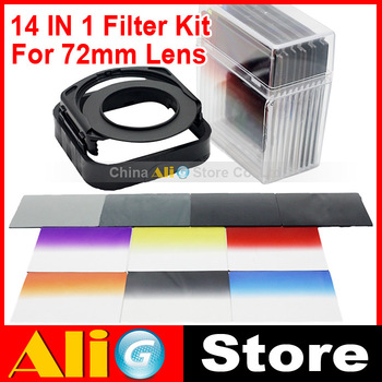 (14 IN 1) Camera Lens Filters Kit 72mm Adapter Ring LENS Hood ND2/4/8/16 Gradient Filters 10P Bag Free Shipping