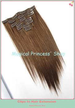 Hot Sale Brazilian Brown Hair Clips In Hair Extension Straight 15''/18''/20''/22''/24''