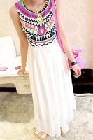 Free Shipping Pattern Bohemia Pleated Sleeveless Chiffon Patchwork One-piece Dress Wholesale