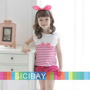 New Free Shipping Little Girls Fashion Suits Summer Lovely Sets for Kids Wear, Striped Vests + Harem Pants K0491