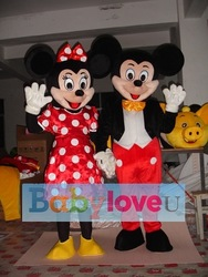 Mickey Minnie mouse mascot costume TWO PCS party costume shipping to worldwide(China (Mainland))