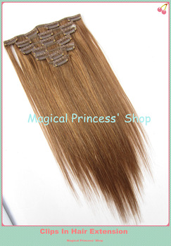 Wholesale Price Light Brown Brazilian Human Hair Clips In Hair Extension Silky Straight