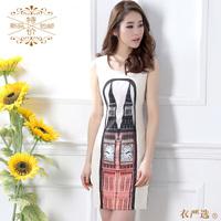 2013 spring and summer dress women's tank o-neck slim hip chiffon one-piece dress female summer plus size