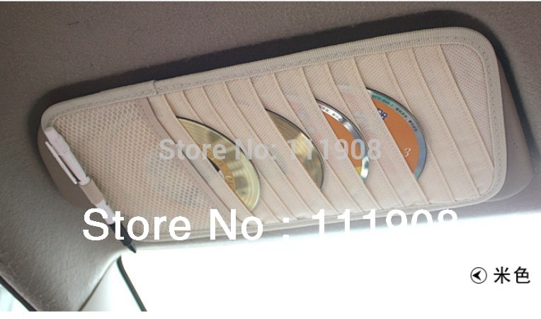 hot sell Protable 12 DVCD holder fit on car sun visor CD storage bag anti slip hanging ticket pocket as auto car accessory.(China (Mainland))