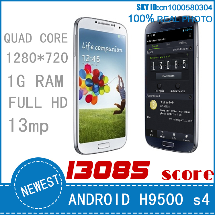 antutu 13085 score mtk6589 quad core galaxy s4 i9500 h9500 phone full hd 1280*720 1G RAM android 4.2 13mp camer wifi gps 3d(China (Mainland))