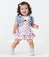 2013 New, Free shipping, Girls heart print clothing sets (cake dress+vest) 2pcs suit girl's summer clothes set kids set