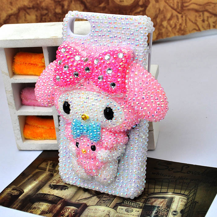 melody bing hairpin and bow bling crystal AB case for iphone5 4S protective cover(can make samsung galaxy s3 s4)[JCZL DIY Shop](China (Mainland))