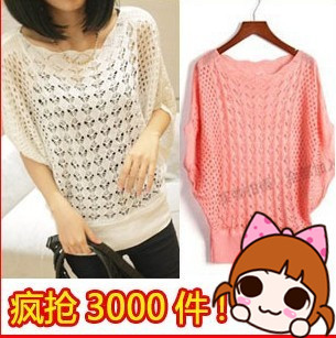 2013 spring sweater batwing sleeve loose sweater air conditioning cutout shirt sun protection shirt plus size shirt(China (Mainland))