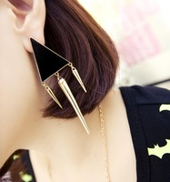 Min.order $10(Mix order)Free shipping!!! A0440 fashion punk triangle enamel stud drop earrings womens jewellery long pendant