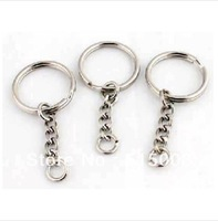100pcs/Lot,Free Shipping!Dia.25mm Split Key Ring With 4 Link Chain,Wholesale Metal keychains,Key Chain and Key Ring Accessory