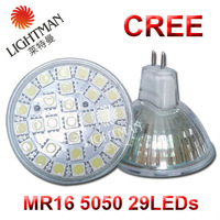 Supper bright- MR16 5050 29LEDs  Lamp LED Bulb 6W Warm White/White CREE Spotlight Light 220V 5pcs/lot