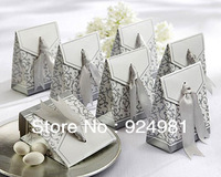 100 Pcs Gorgeous Gold Ribbon Wedding Party Candy Box Favor Gift Boxes Free Shipping golden and silvery