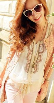 2013 women's spring vintage elegant delicate beading paillette elegant butterfly sleeve chiffon shirt