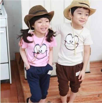 summer 2013 Wholesale new desgin 5sets/lot baby boy\girl sportswear Big eyes short-sleeved 2pcs suits