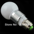 Free Shipping E27 3W Aluminum +PC Lamp Cover Warm white AC 90-260V Ball Bubble Bulb 3000K BES03W0019