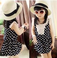 5pcs/lot 2013 summer wear kids children clothing baby girls fashion polka dots ruffles dress