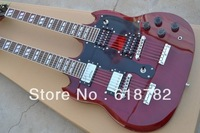 Led Zeppeli Page 1275 Double Neck, Signed Aged , red body 12 strings guitar