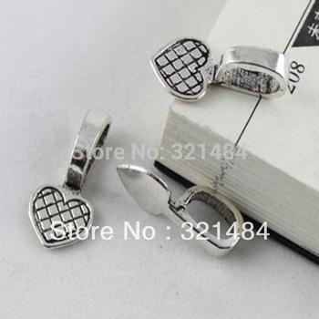 Wholesale 1000pcs 10x21mm Antique silver Jewelry Pendant Bail Charms Heart Blank Base Tray Bezel Findings