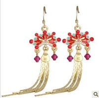 Chinese style jewelry small bride Earring / ear clips using SWAROVSKI elements