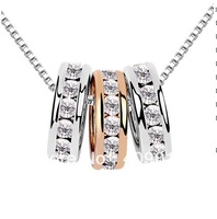 free shipping _ 925 Sterling Silver Popular jewelry Austria Crystal circle three  Necklace -xj--12