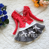 Retail 1set Free shipping 2013 autumn spring baby girls suit children's clothing 3pcs:coat+t shirt+skirt  color red