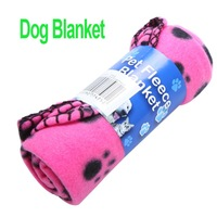 Freeshipping Cute Pet Dog Cat Blanket Paw Prints Soft Fleece Mat Bed Cover Rose Red 3 pcs/lot  ,dropshipping