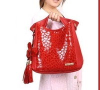 2013 women's handbag fashion flower tassel cowhide women's handbag stone pattern genuine leather women's handbag