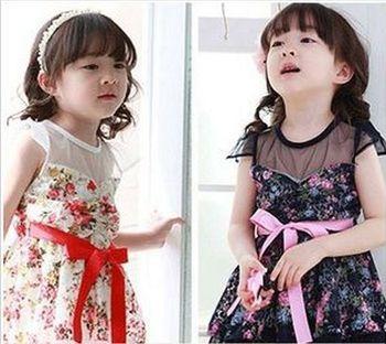 2013 New design Korean style baby girls lace dress kids flower fashion cotton summer dress 5pcs/lot free shipping