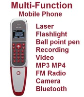 Luxury Multi-function Mobile Phone F8 with1.3MP Camera Laser Flashlight Ball Point Pen FM Radio Buletooth MP3 MP4 Free shipping