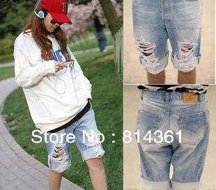 Best Selling!! Ripped Distressed Short jeans Denim Women Cotton Summer Trousers Free Shipping(China (Mainland))