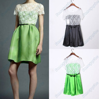 WOMEN PATCHWORK FORGING LACE DRESS BACK INVISIBLE ZIPPER WITH BELT WF-4028