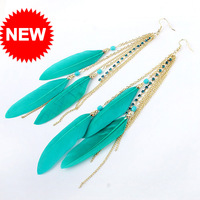 Min Order $10,Charms Fashion Designer Jewelry,Feather Long Drop Earrings,Vintage Accessories For Women,costume jewellery,E93
