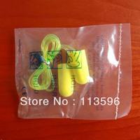 Freeshipping  PU Foam  Earplug  with  String    ( SNR 33 )        5F-2