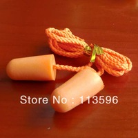 Freeshipping  Hongsheng Plastic Anti-noise PU Foam  Earplug  with  String    ( SNR 33 )        5F-2