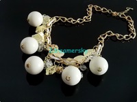 BOHO Resin Pink/White Balls Gold Leaves Choker Bib Necklace Rhinestones necklaces & pendants women