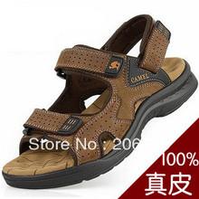 Chameau mâle sandales pantoufles véritable peau de vache en cuir sandales hommes extérieurs occasionnels double usage sandales en cuir(China (Mainland))