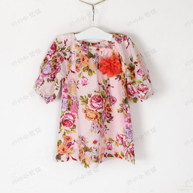 2013 newly desiged big flower adorable brooch girl's dress(China (Mainland))