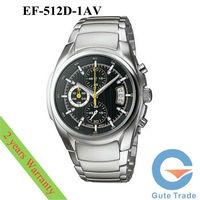 Fashion EF-512D-1AV Men's Watch Hardlex Dive Watches Stainless S. Wristwatch Free Ship With Original box
